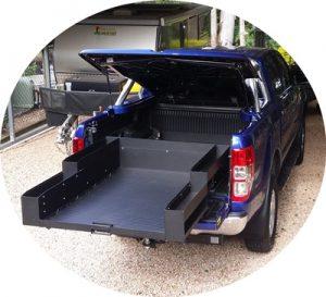 dual cab sliding cargo tray